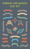 Flat Color Ribbons and Badges Set. stock illustration