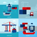 Flat Color Seaport  Concept. With ships lighthouse  and port facilities vector illustration Royalty Free Stock Image