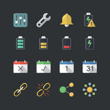 Flat color style Application & Mobile icons set Stock Images