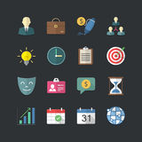 Flat color style Business management icons set Stock Images