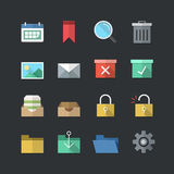 Flat color style Business & Office icons set Stock Photo