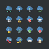 Flat color style Cloud Computing icons set Royalty Free Stock Images