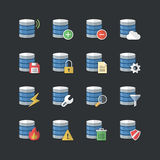 Flat color style Database icons set Stock Image