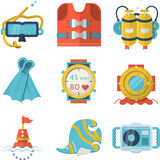 Flat color style diving icons Royalty Free Stock Photo