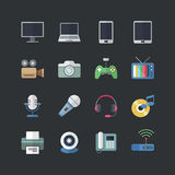 Flat color style Electronic Devices icons set Stock Images