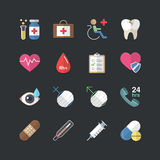 Flat color style Health-care and medical icons set Stock Photos