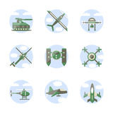 Flat color style military robots icons Royalty Free Stock Image