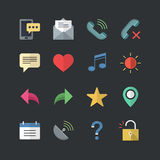 Flat color style Mobile Setting icons set Stock Photography