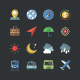 Flat color style Travel & Business icons set Stock Image