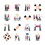 Flat Color Teamwork Icons Set Stock Photos
