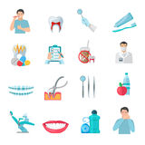 Flat Color Teeth Icons Set Royalty Free Stock Image