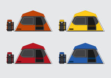 Flat color tents and bags set. Flat color vector tents and bags set Stock Image