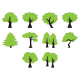Flat color trees icon set. Collection of trees icon Stock Images