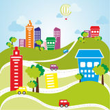 Flat color vector city Royalty Free Stock Images
