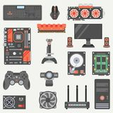 Flat color vector computer part icon set. Cartoon style. Digital gaming and business office pc desktop device Royalty Free Stock Photo