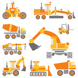 Flat color vector icon construction machinery set with bulldozer, crane, truck, excavator, forklift, cement mixer Royalty Free Stock Photography