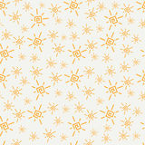 Flat color vector seamless summer sun pattern. Fabric textile summer pattern. Cute doodle summer pattern with sun Royalty Free Stock Photos
