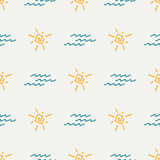 Flat color vector seamless summer sun pattern. Fabric textile summer pattern. Cute doodle summer pattern with sun and Royalty Free Stock Photos