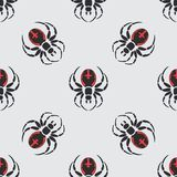 Flat color vector seamless wildlife fauna pattern with black widow spider.   Royalty Free Stock Images