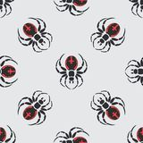 Flat color vector seamless wildlife fauna pattern with black widow spider. Simplified. Cartoon style. Insect. Web Royalty Free Stock Photo