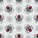 Flat color vector seamless wildlife fauna pattern with black widow spider. Simplified. Cartoon style. Insect. Web Stock Photography