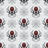 Flat color vector seamless wildlife fauna pattern with black widow spider. Simplified. Cartoon style. Insect. Web Stock Photos