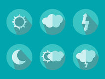 Of Flat Color Weather Icons With Long Shadow Stock Images