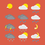 Flat color weather icons. Vector illustration of flat color weather icons Stock Image