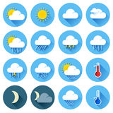 Flat color weather icons Stock Image
