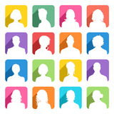 Flat colored Avatars with cast Shadow. A collection of 16 high detail avatars White silhouettes On colorful Shaded Backgrounds Stock Photos