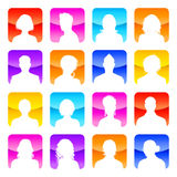 Flat colored Avatars with Shiny Background. A collection of 16 high detail avatars White silhouettes On colorful Shiny Backgrounds Royalty Free Stock Photography