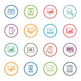 Flat Colored Business Icon Set Stock Photos
