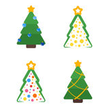Flat colored christmas tree with star and garland set. Christmas tree flat with star and garland colored set Stock Photography