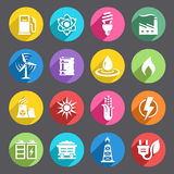 Flat colored Energy Icon Set. A vector icon set with 16 Energy production/saving/Environment themed icons vector illustration
