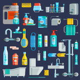 Flat Colored Hygiene Icons Set. Of bathroom equipment elements detergent toiletries at dark blue background vector illustration royalty free illustration