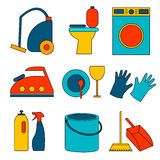 Flat colored icon of cleaning service for web banners, web sites, infographics. Royalty Free Stock Images