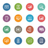 Flat Colored Icon Set Stock Photo