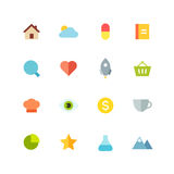 Flat colored icon set Stock Image