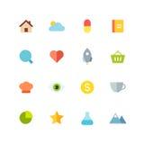 Flat colored icon set Stock Image