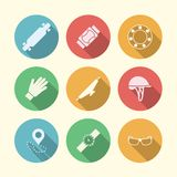 Flat colored icons for accessories for longboarders Royalty Free Stock Photos