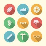 Flat colored icons for accessories for longboarders Stock Photo