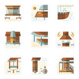 Flat colored icons for cafe and bungalows Royalty Free Stock Image