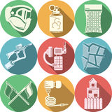 Flat colored icons collection for paintball Stock Images