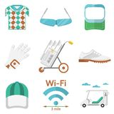 Flat colored icons for golf Stock Photo