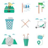 Flat colored icons for golf Royalty Free Stock Photos