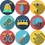 Flat colored icons for rappelling Royalty Free Stock Photography