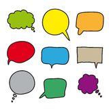 Flat colored speech bubbles. hand drawn icons Royalty Free Stock Photography