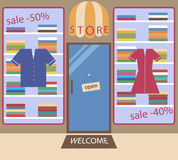 Flat colored store eps10. Flat store of the clothes made in different colors. Sales in the shop Royalty Free Stock Images