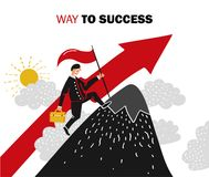 Success Business Composition. Flat colored success business composition with man aspires up the career ladder vector illustration Stock Image