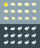 Flat colored weather icons collection with day and night variations.  Stock Images